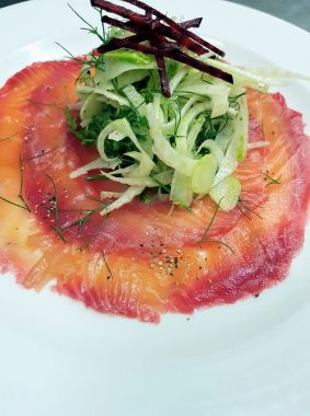 Beetroot cured salmon, fennel salad