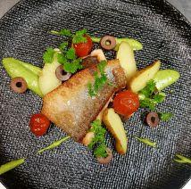 Salmon filet, salsa verde, kipfler potatoes, roasted cherry tomatoes and olives